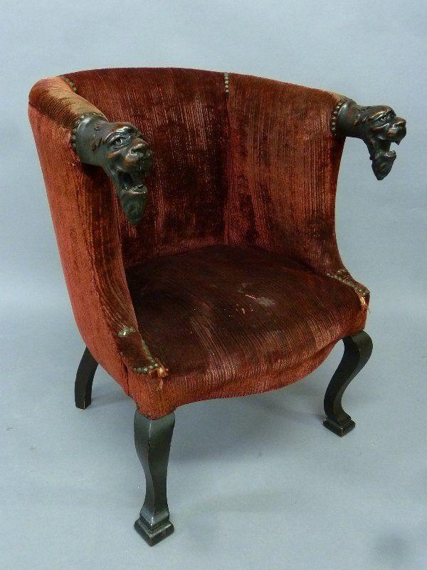 Circa 1920u0027s Solid Mahogany Unique Arm Chair