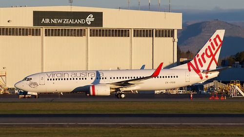 Virgin Australia 737-800 at Christchurch. Repainted in its new livery.  Type: Boeing 737-8FE  Registration: ZK-PBB  Location: Christchurch International Airport  Date: 22/09/2012