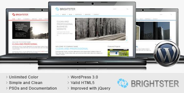 Brightster - Clean Business WordPress Theme   http://themeforest.net/item/brightster-clean-business-wordpress-theme/116146?ref=damiamio             	 Brightster is a clean and professional wordpress theme suitable for business company website website and ecommerce website, the design is clean and simple.  Theme Update: 	 08.05.2010 – Version 1.1.1   Added SQL demo data  Fixed some minor bugs  Update Documentation  and more…   	 08.03.2010 – Version 1.1   Added products and news page…
