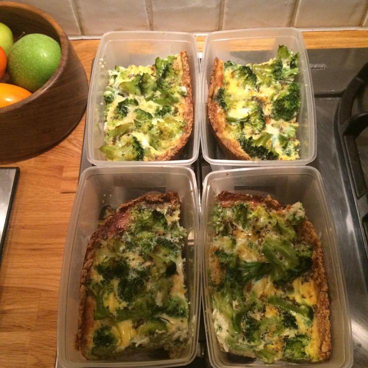 Diet Recept BroccoliPaj PAJBOTTEN: 125 g smör/kvarg, 2 msk vatten, 3 dl mjöl (mixade kikärtor/broccoli/blomkål eller havremjöl). Blanda ihop och tryck ut i pajform, grädda skal 200* 15 min. FYLLNING: valfritt! Jag fyllde paj med kokt broccoli och äggstanning. ÄGGSTANNING: 4 ägg, 4 dl mjölk, 1/2 tsk salt, 1tsk timjan, 1tsk basilika. Vispa ihop och slå över pajen. In i ugn 30-40 min (200 grader) eller tills pajen stelnat i mitten.
