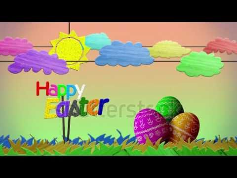 Happy Easter sign with colorful aminated clouds, grass, sun, and painted eggs | amigo//stock