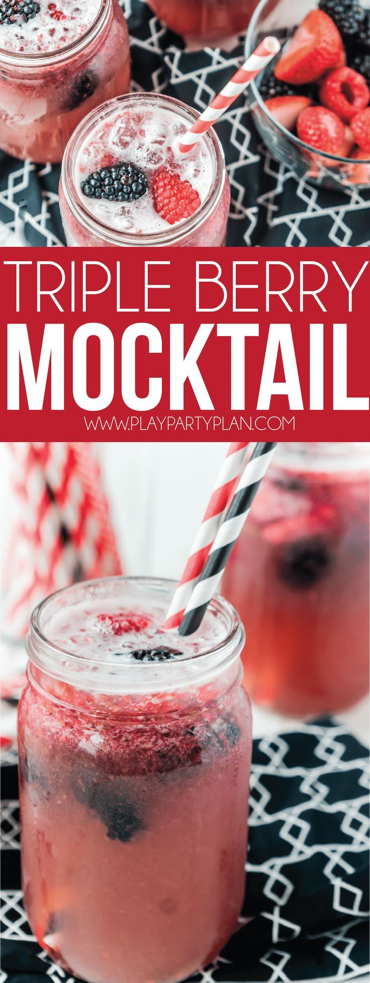 A non alcoholic triple berry mocktail recipe that's perfect for pregnancy, f…