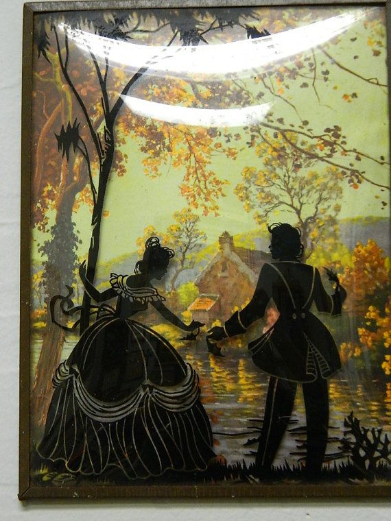 Victorian Reverse Paintings Couple Romance by TheIDconnectio