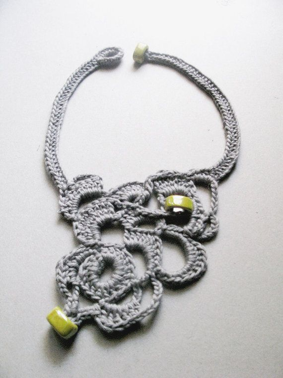 Crochet jewelry free form crochet statement by WearitCrochet