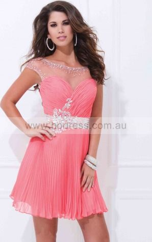 Cap Sleeves Bateau Zipper Chiffon Short Formal Dresses zth003--Hodress