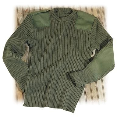 Used British Military Surplus Wool Sweater, Olive Drab