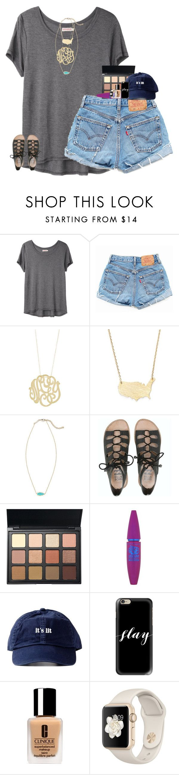"""""""it's lit"""" by evieleet ❤ liked on Polyvore featuring Organic by John Patrick, Levi's, Ginette NY, Moon and Lola, Kendra Scott, Billabong, Morphe, Maybelline, Casetify and Clinique"""