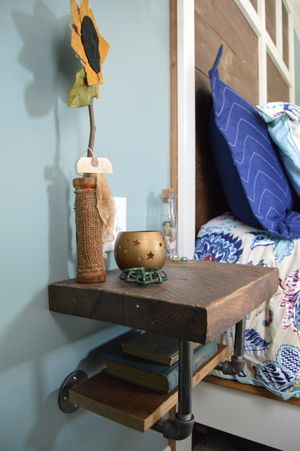 -Nightstand--Not a bad idea. -I like the suspension from the wall w/  flanges. -Solid wood look up top with drawer and secret left hand  compartment--possibly ...