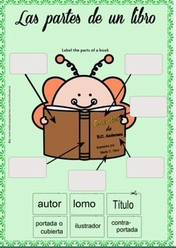 Free download -Label the parts of a book in Spanish - activity - Corte y coloque el nombre de las partes de un libro en los cuadros.