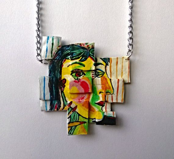 Hand Painted Necklace Abstract Picasso by PeculiarBoutique on Etsy