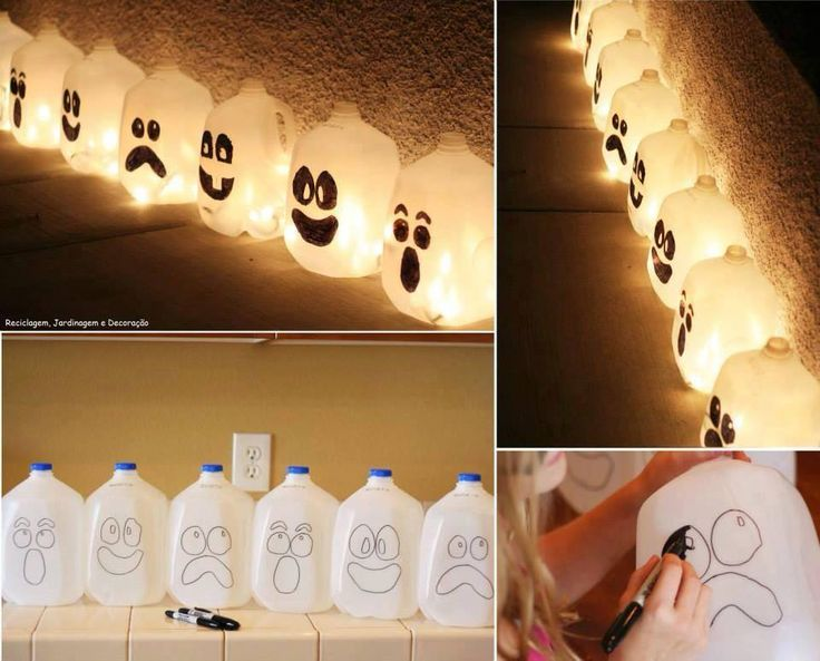 Line the walkway to your home with these ghostly lanterns. Draw the faces on with a sharpie, fill them with water, drop in a glowstick,maybe some arange food color to water, and paint cap green or you can use Christmas lights and string the milk cartons together