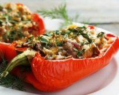 Poivrons farcis aux herbes et viande hachée : http://www.fourchette-et-bikini.fr/recettes/recettes-minceur/poivrons-farcis-aux-herbes-et-viande-hachee.html