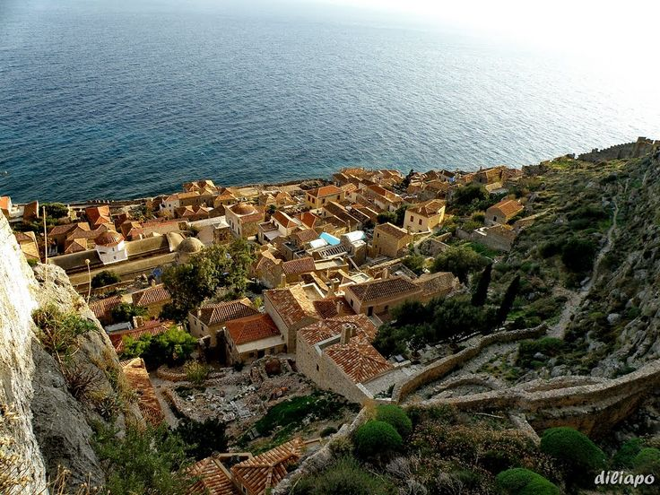 """Monemvasia, Greece is perched on an island off the east coast of the Peloponnese. Monemvasia's name means """"single entrance"""" in Greek"""