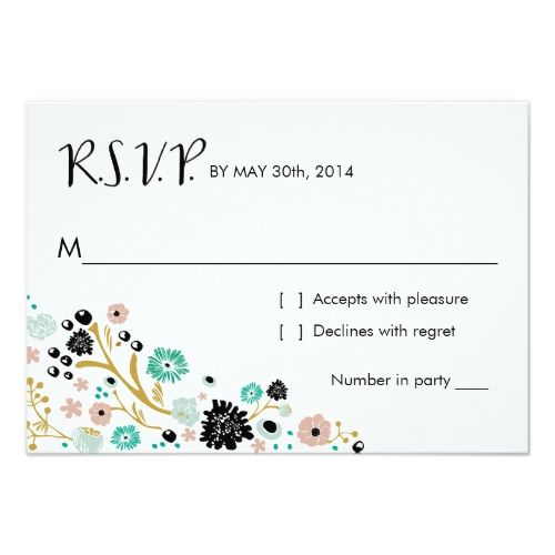 Outdoor Wedding RSVP Pretty Bouquet Floral | R S V P Reply Card Blush