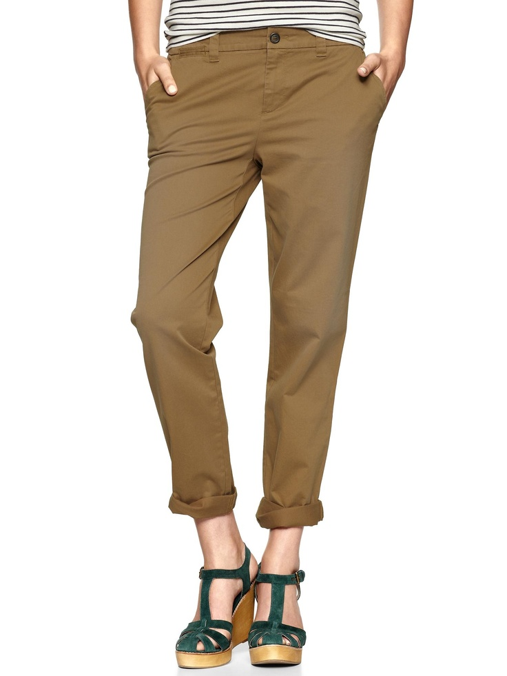 GAP straight leg khakis are the bomb.  So comfortable, I want a pair in every colour.