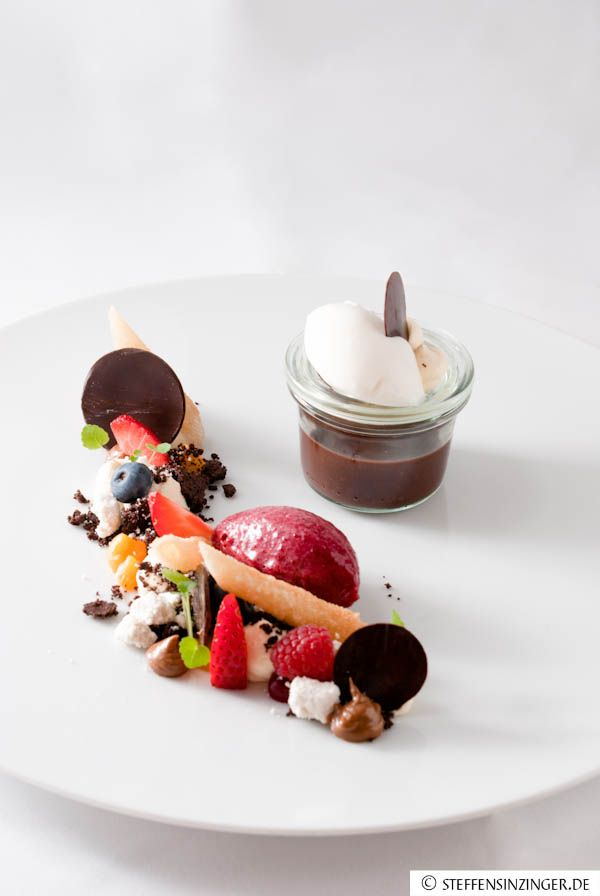 frozen yogurt with praline cream and sweet filo pastry