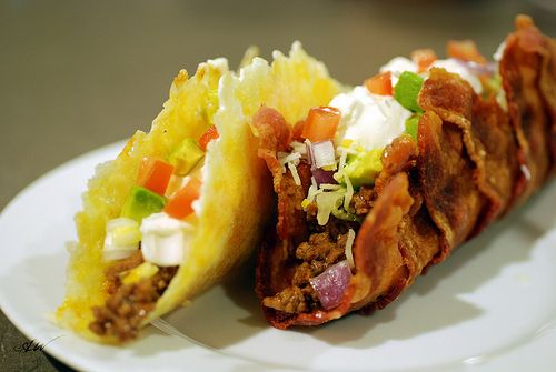 Bacon and Fried Cheese Tacos.  (The latter are called Frico Tacos elsewhere.)  Instructions included...and one commenter suggested the bacon shell as a breadless BLT base; another as a breakfast taco.  Genius on both parts...and I wouldn't have gone there!