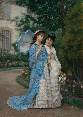 ⊰ Posing with Posies ⊱ paintings of women and flowers - Auguste Toulmouche, A Garden Stroll