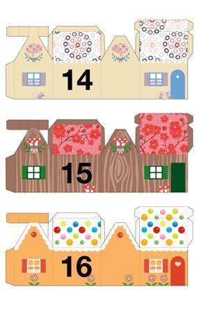 papírový domeček, vystřihovánka, adventní kalendář