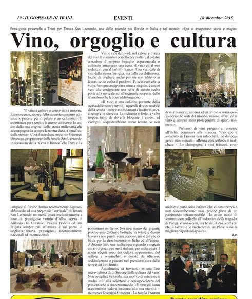 Vino, orgoglio e cultura Articolo su Bombonotizie Giornale Di Trani La Cena in Bianco con i vini di Tenuta San Leonardo