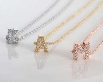 Rose gold initial necklace  Will you be my bridesmaid