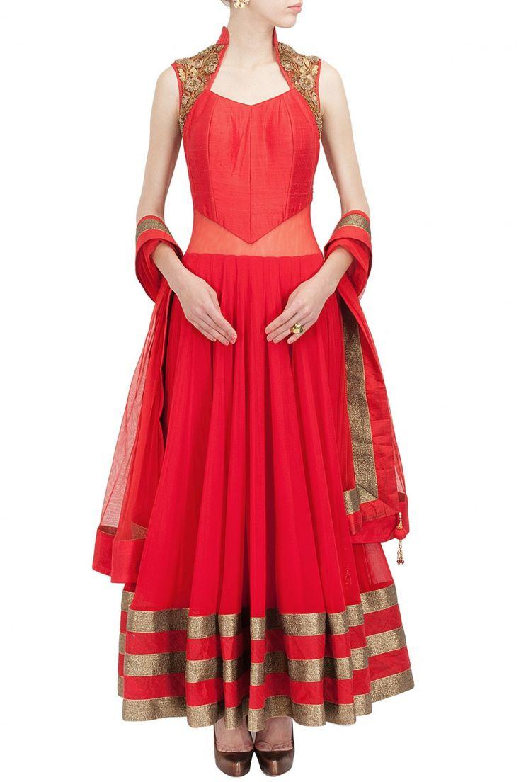 Red sheer back embroidered anarkali set BY AKSHAY WADHWA.. Shop now at perniaspopupshop.com #perniaspopupshop #clothes #womensfashion #love #indiandesigner #akshaywadhwa #happyshopping #sexy #chic #fabulous #PerniasPopUpShop