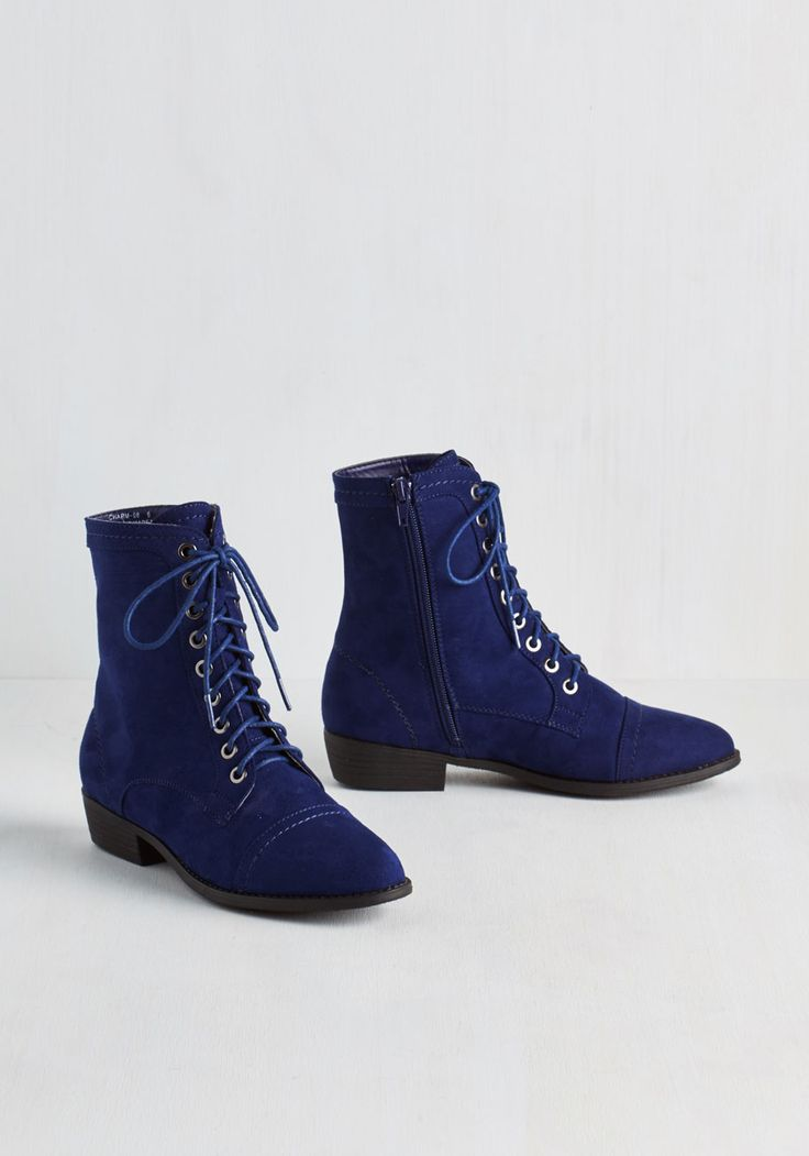 Trek Yourself Boot in Midnight Blue - Low, Faux Leather, Blue, Solid, Casual, Lace Up, Variation