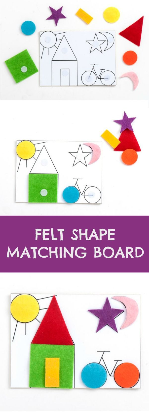 Felt Shape Matching Board #felt #shapes #montessori #toddler #preschool #preschoolers #prek #homeschool #busybags #affiliate