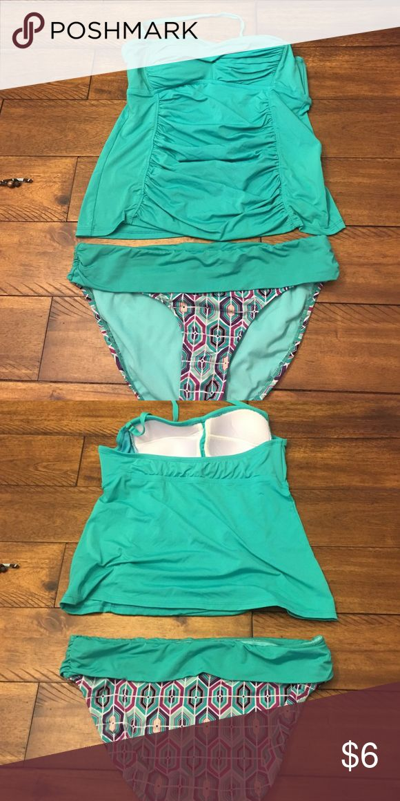 Slimming Swimsuit! Slimming features built in the top of this sea green swimsuit!  Only worn a few times!  The top is jcp brand and the bottoms are apt.9. Swim