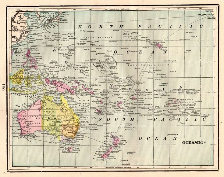 1900 Antique OCEANIA Map POLYNESIA Map Pacific Islands & Australia Map #3664