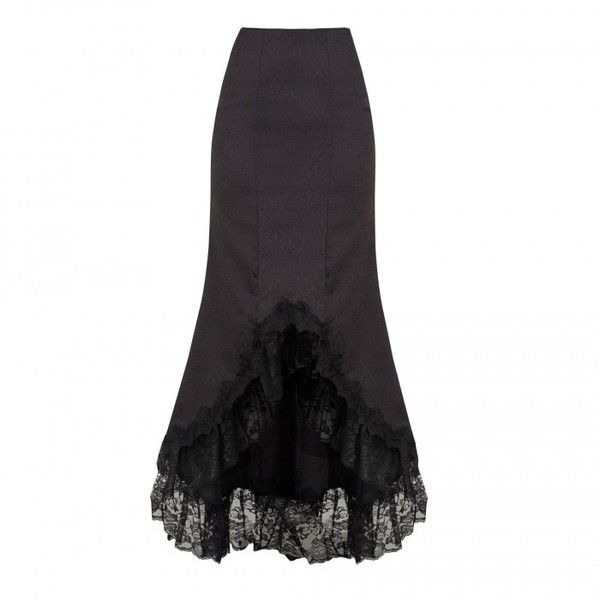 Long Black Flared Gothic Skirt with Lace Trim ❤ liked on Polyvore featuring skirts, long flared skirt, flare maxi skirt, goth skirt, velvet skirt and flared skirt