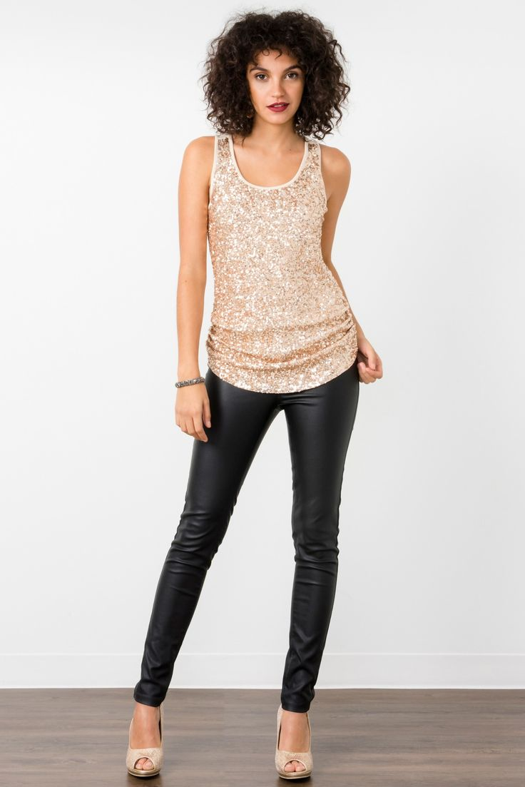 Suzy Shier Sequined Top With Ruching