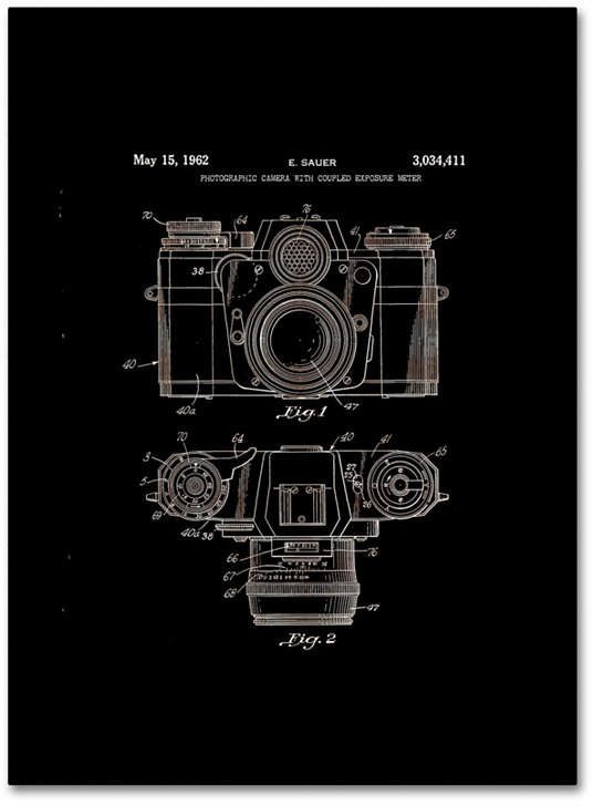 Claire Doherty 'Photographic Camera Patent 1962 Black' Canvas Art – 18 x…