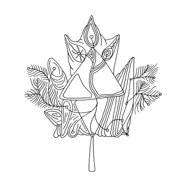 Canadian Maple Leaf Colouring Page With Abstract Drawing In Mind Form By Donald