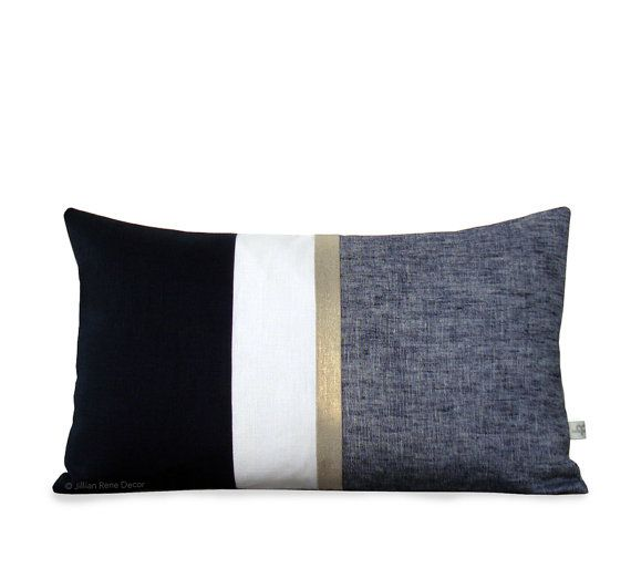 NEW for 2015 :: A metallic gold stripe and yarn dyed chambray gives layers of texture to this chic black and cream pillow cover.