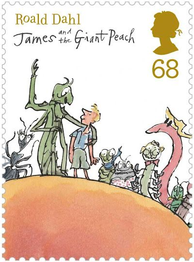 roald dahl stamps for the royal mail.  LOVE james and the giant peach. maybe it's time for a reread...