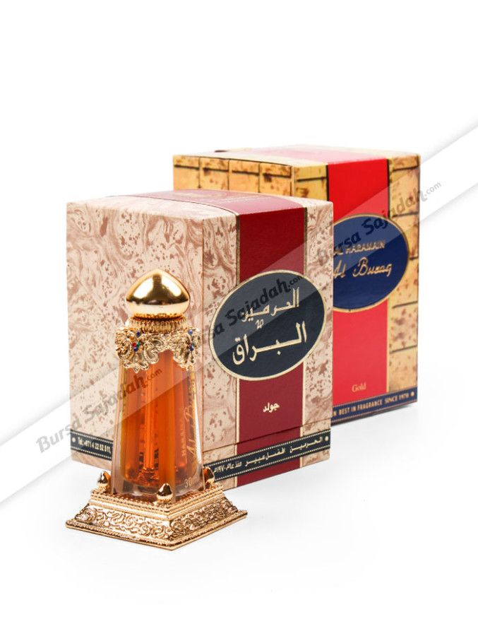 Al Buraq merupakan salah satu minyak wangi unggulan dari Haramain. Parfum untuk pria / wanita ini dibuat dengan harum agarwood, saffron, & amber yang menarik dan tahan lama. Disamping itu, parfum beraroma khas Timur Tengah ini juga dibuat dengan botol berdesain klasik & berwarna gold yang memberi kesan elegan, sehingga membuatnya direkomendasikan untuk dijadikan oleh-oleh haji/umroh teristimewa.  Isi: 30 ml