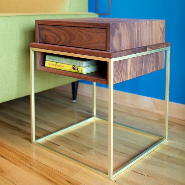 plastolux eastvold brass walnut cube side table