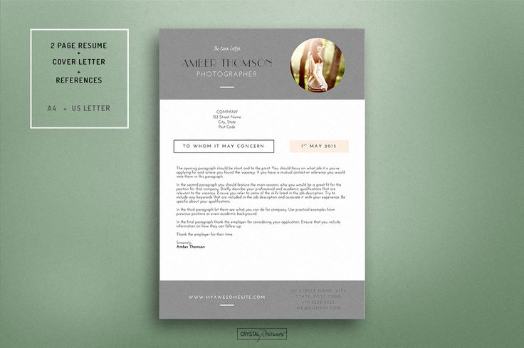 Resume CV Template for Word by CrystalResumes on Creative Market