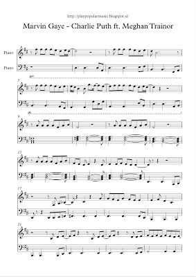 play popular music, free piano sheet music, Marvin Gaye, Charlie Puth, Meghan Trainor