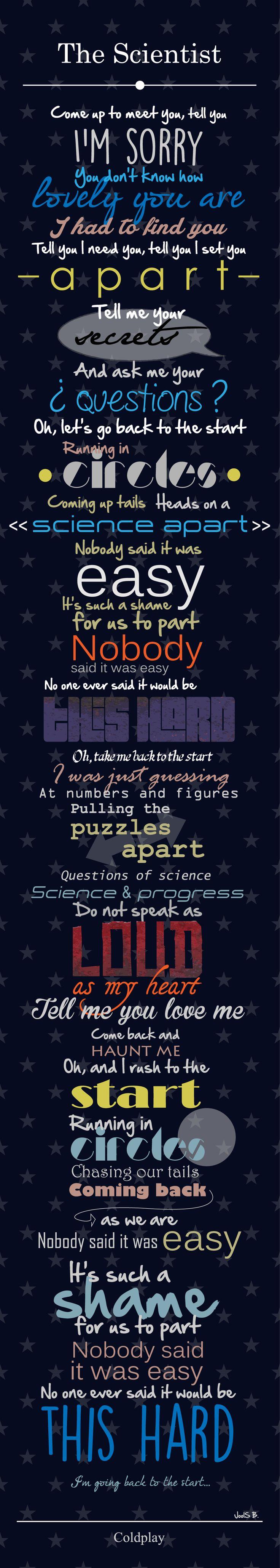 """juego de fuentes tipográficas en la letra de la canción """"The scientist"""" de Coldplay"""