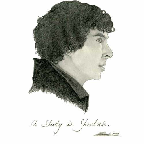 A Study in Sherlock: A pencil drawing of Benedict Cumberbatch as he appears in the BBC TV series Sherlock.