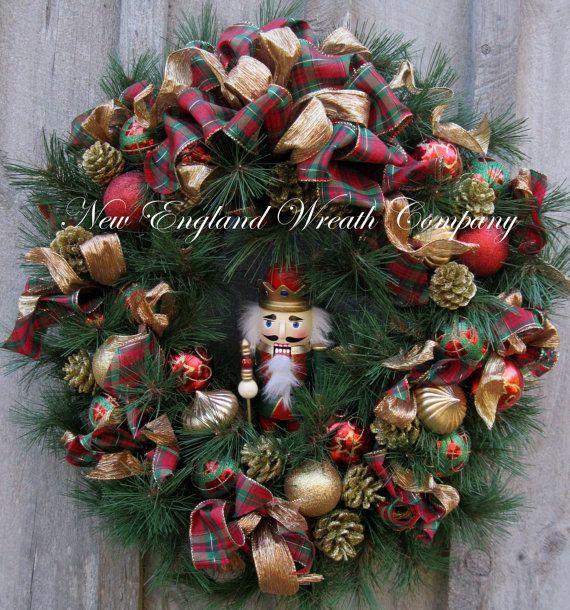 Christmas Wreath Holiday Wreath Nutcracker Designer Wreath Elegan