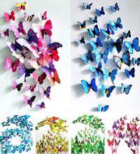 (1 set = 12 pz) colorato disegno art 3d farfalla decorazione della parete magnete di plastica 7 colori bambini adesivi murali adesivo parede spedizione gratuita  (China (Mainland))