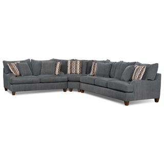 putty chenille studiosize 3piece sectional u2013 grey