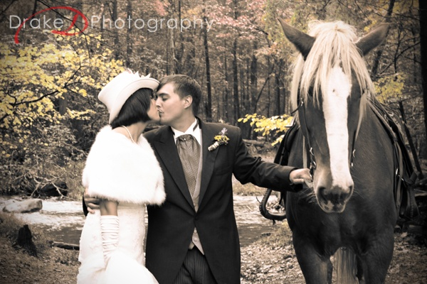 horse wedding photography idea - Tennessee wedding at Cade's Cove national park