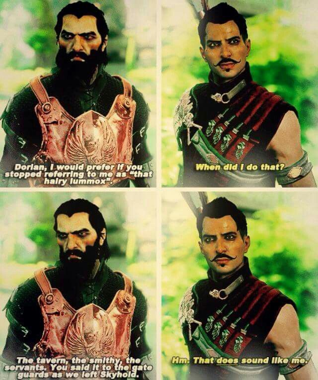 Oh Dorian Xd I Freaking Love You And Blackwall Just Quietly Brooding About It Until Now Of Course Dragon Age Funny Dragon Age Series Dragon Age Games