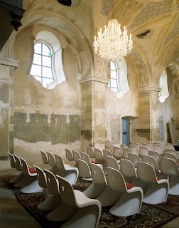 St. Bartholomew's church in Eastern Bohemia as redesigned by Maxim Velcovsky with Verner Panton Chairs