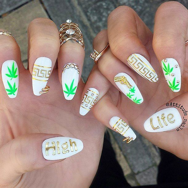 Spiffy Spliff // Weed-Inspired Nail Art Ideas