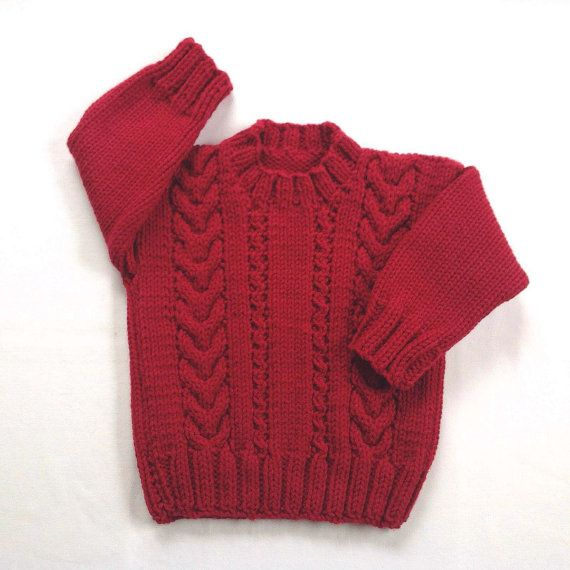 Niño rojo 12 a 24 meses Navidad suéter puente por LurayKnitwear